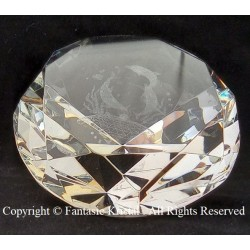 Diamond with dolphins lasered